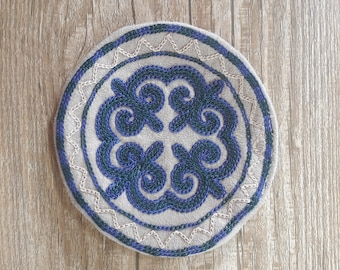 Hand Embroidered Coasters, Kazakh Embroidery, Set of 4