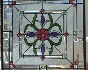 Stained Glass Window Hanging 25 1/2 square