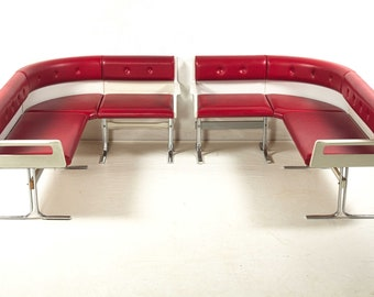 Italian ice cream parlor bench, white and red, vintage,