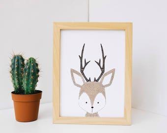 Deer Nursery Art Decor, Deer Wall Print, Nursery Wall Print, Wall Art, Baby Room Decor, Deer Wall Art, Wall Art, Nursery Wall Art