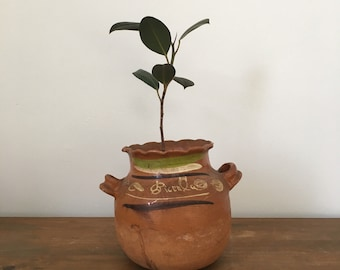painted clay mexican folk pot
