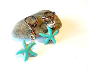 Starfish Charm Earrings, Starfish Jewelry, Turquoise Dangle Earring, Ocean Earring, Beach Jewelry, Turquoise Jewelry, Ocean Jewelry