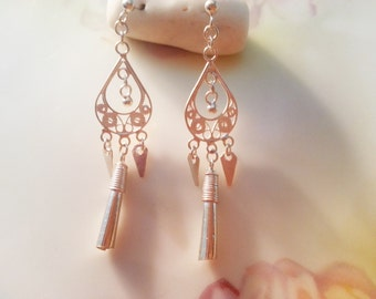 Vintage Sterling Silver Cut Out Design Boho Gypsy Chandelier Earrings Dangle Earrings 2.2 grams