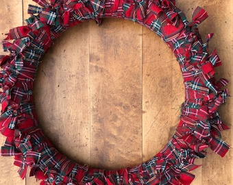Wreath with Plaid Flannel