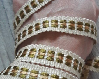 V46 plaited ecru, Khaki and beige 15mm