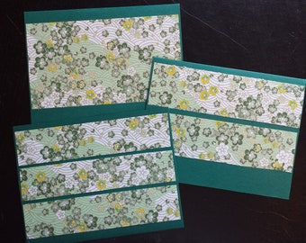 Set of 3 Jade Green / Flowers Greeting Cards Blank with Envelopes