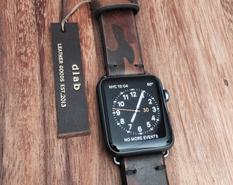 Apple Watch Strap_20/22/24 mm Handmade Camouflage Military Distressed Leather Band / strap