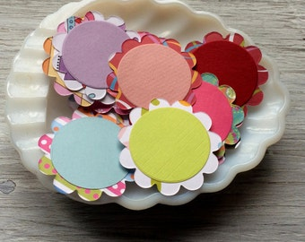 Scalloped Circle Tags, Paper Scallop Embellishments- gift tags,  2 inch diameter set of  12