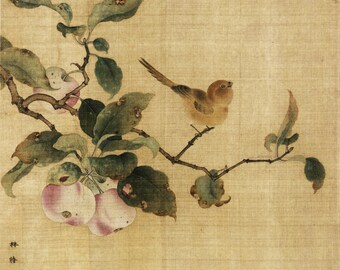 Bird on branch print, Chinese art, Chinoiserie, Tree with birds, Art prints, Chinoiserie Art, Chinese art, Chinese prints, Asian art