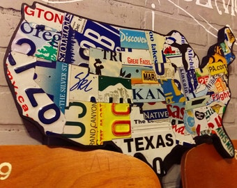 License Plate Map, Authentic US License Plates (New Small Size)