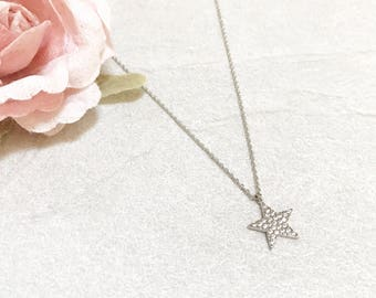 Crystal Star Necklace ~ Silver