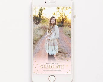 Blush Pink Graduation Geofilter Snapchat Geofilter Gold Foil 2018 Graduation High School Graduation Class of 2018 Snapchat Filter