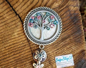 Labor and Delivery Nurse badge reel. Tree of Life: cream glitter, light blue and pink flower charms. Card holder. L&D, OB nurse ID badge