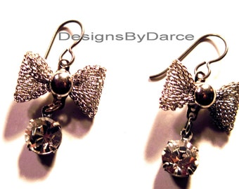 Silver Bow Dangle Earrings Clear Swarovski Crystal Drops Niobium Ear Wires Silver Plated Mesh