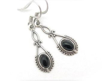 Black Earrings, Dainty Dangle Drop, Art Deco Earrings, Bridesmaid Earrings, Petite Art Nouveau, Vintage Style, Antiqued Silvertone Dangles
