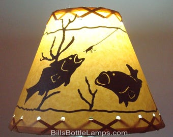 Fish lamp shade etsy fish lamp shade rustic cottage table light lamp shade oil kraft clip on bulb style 9 inch cone country log cabin lodge bottle lamp aloadofball Image collections