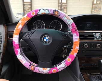 Bright Fun Funky Floral Flannel Steering Wheel Cover