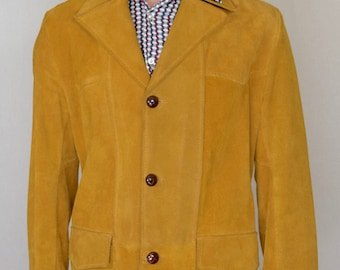 Vintage 1970's Men's Butterscotch Suede Leather Western HiPPiE HiPsTeR Jacket Size M 44