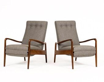 Danish Modern / Mid Century Reclining Lounge Chairs — Mahogany Frames w/ Grey Textile — Pair