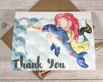 Folded Notecard Set - Narwhal and Mermaid / Thank You / Greeting Card / Cute / Under the Sea / Gift / A2 Size / Hello / Note Card / Statione