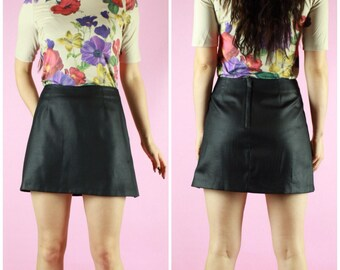 90's VTG Black Iridescent Sheen Mini Skirt Vintage Clothing Retro 60's 70's 80's