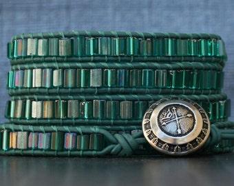 wrap bracelet- emerald green tile beads on dark emerald leather - stained glass jewelry - boho gypsy bohemian
