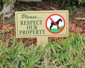 No Dog Poop Stake  | 2 Respect Our Property Signs |  No Poop No Pee Signs | No Dog Pooping Signs | No Poop or Pee Dog Signs | No Pee No Poop