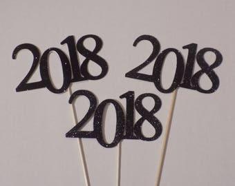 Black 2018 Graduation Party Decoration, 2018, 2018 Graduation Party Pick, Graduation Pick,  Graduation Centerpiece Pick,