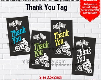 instant download, thank you tag, tag, thank you, gift tag,  Dirt bike, boy party,  3.5x2inch printable  , non-editable NOT CUSTOMIZABLE