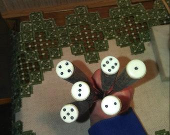 Vintage fondue sticks with dice accent