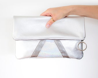 Metallic Fold Over Clutch, Silver Leather Clutch, Hologram Leather Purse, Sparkle Party Clutch, Silver Leather Purse