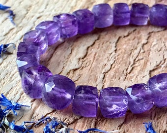 Amethyst beads 8 inch cube semiprecious stone beads - 7mm