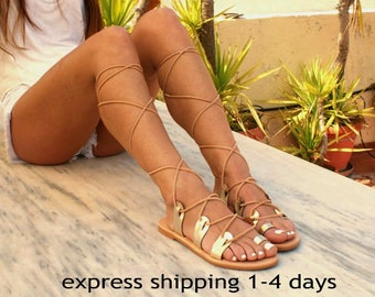 AMAZONA 3/ leather gladiator sandals/ ancient Greek sandals/ lace up sandals/ spartan sandals/ handmade sandal/ strappy sandal/ gold sandals