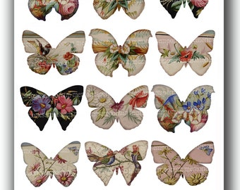 Teacup Butterflies Butterfly Decoupage Digital Collage Sheet Printable Instant Download 114