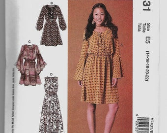 M7431 McCall's Pullover Dresses Sewing Pattern Sizes 14-16-18-20-22 Sleeve and Length Variations