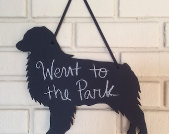 Australian Shepherd Dog Handmade Chalkboard Wall Hanging -Aussie Dog Shadow Silhoutte - Country Decoration - Great Gift