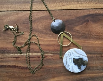 Agate and brass geometric necklace