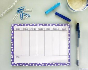 A5 weekly planner pad, A5 desk planner, desk pad, A5 week plan notepad