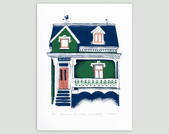 Montreal House in Green/Indigo – Limited Edition Screenprint