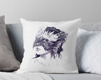 Masked Faerie Nymph Cushion Cover, Pencil Portrait Fantasy Art Throw Pillow with Concealed Zipper, Black and White Illustrated Home Decor