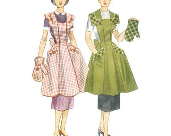 Simplicity 4092 1950s Vintage Half or Full Apron Sewing Pattern (Bust 36-38)