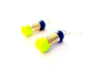 Earrings LIGHTS ON -- Mini light bulb earrings, apple green and black by The Sausage