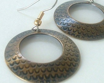Nugold Hoop Earrings Patterned Metal