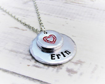 Romantic Heart Pendant Necklace, Personalised, girlfriend gift, romantic gift, gift for mum, gift for partner, lovers gift, I love you
