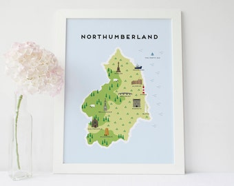 Map of Northumberland - Illustrated Map of Northumberland Print / Travel Gifts / Gifts for Travellers / United Kingdom / Great Britain