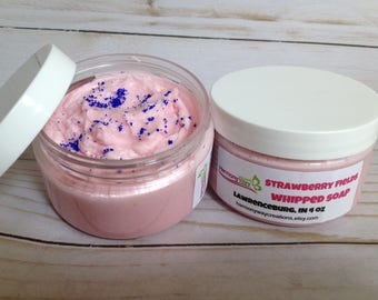 Strawberry Fields Whipped Soap, Fluffy Whipped Soap, Body Frosting, Luxurious Cream soap, Foaming Body Frosting, Foaming Bath Whipped Soap