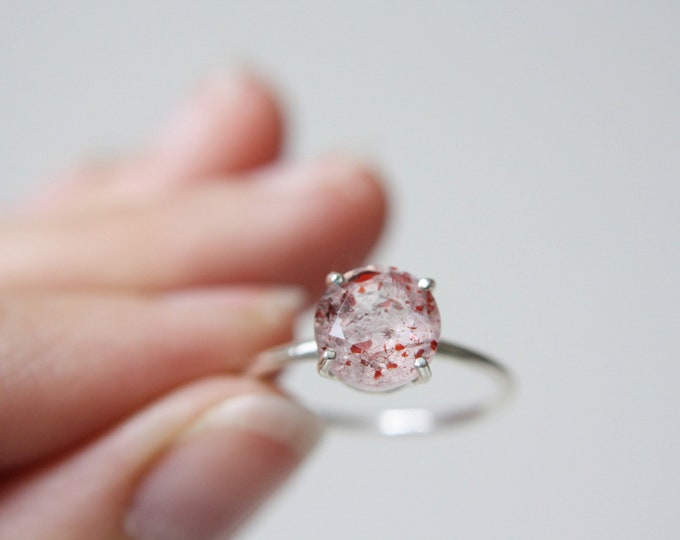 8mm Faceted Round Fire Quartz Ring