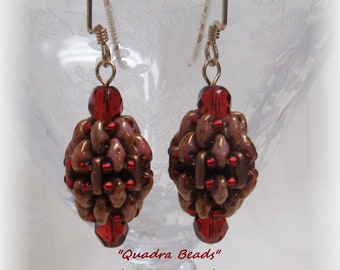 Brick Red and Tan Oval Dangle Earrings