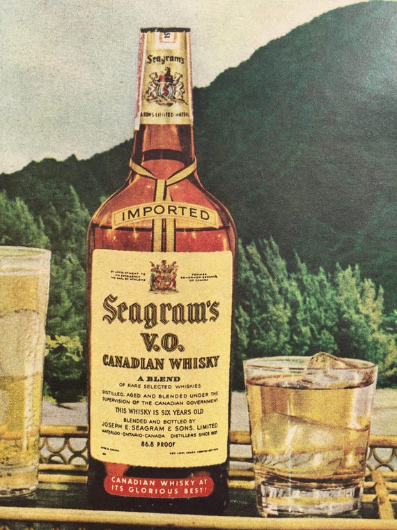 Vintage Seagram\'s VO Canadian Whisky Ad1956 Liquor