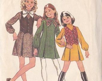 Girls Dress & Vest  Pattern - Simplicity 5167 - Sizes 14 Princess Seams Inverted Pleats ~ Shaped Vest ~ Cut But Complete
